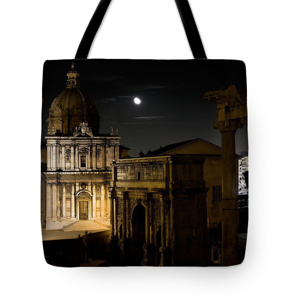 Rome Tote Bag featuring the photograph The Arch Of Septimius Severus by Weston Westmoreland