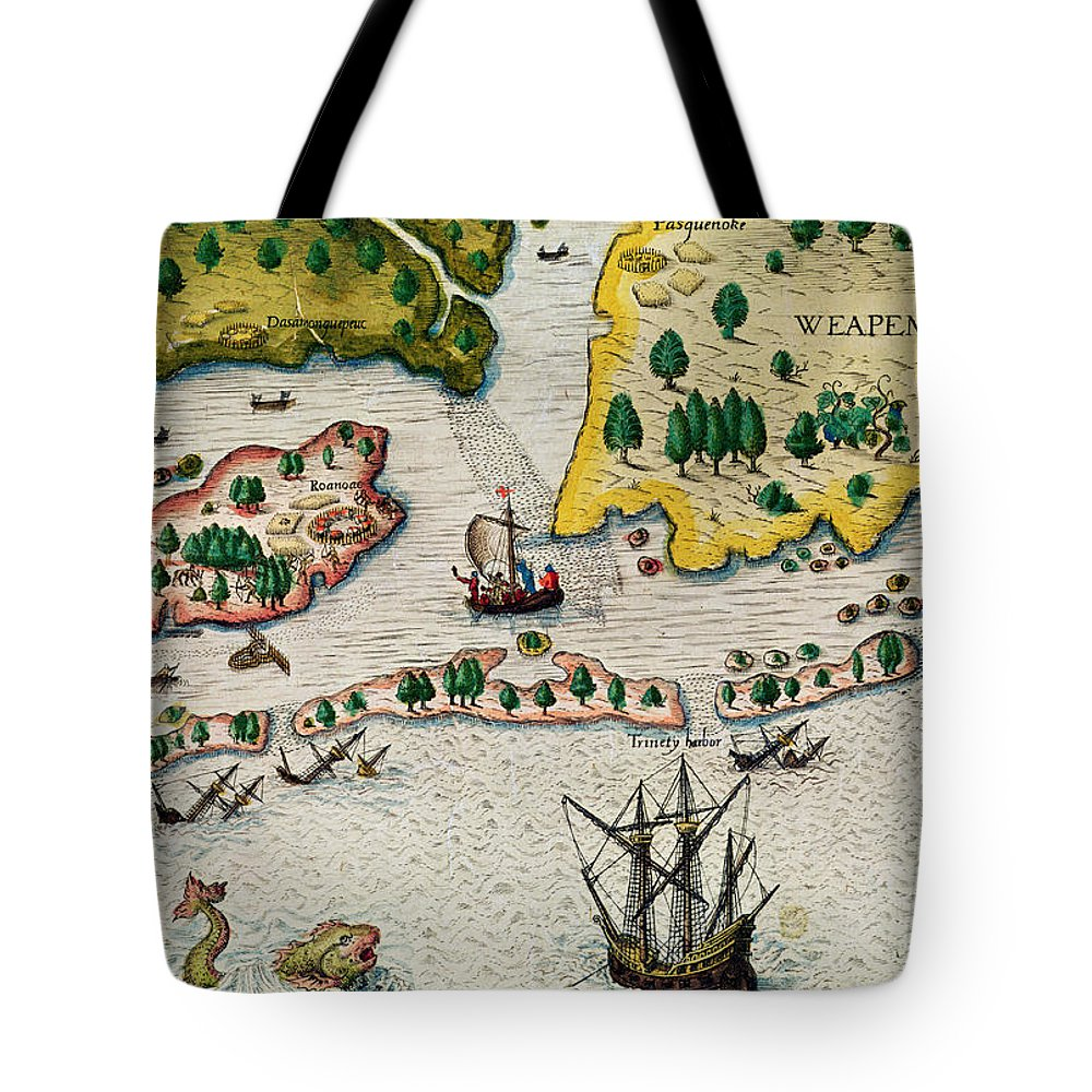Ships Tote Bag featuring the painting The Arrival Of The English In Virginia by Theodore de Bry