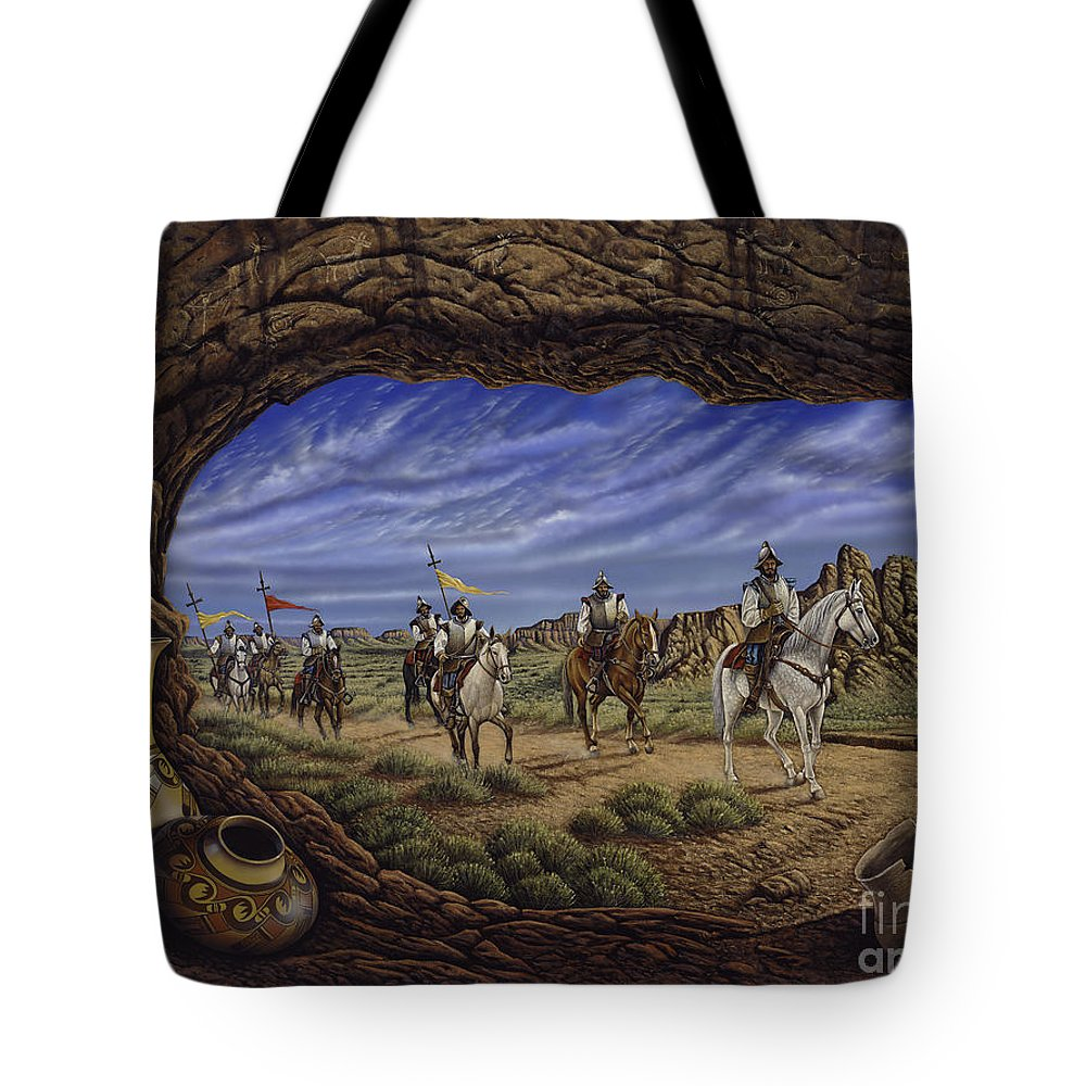 Spaniards Tote Bag featuring the painting The Arrival by Ricardo Chavez-Mendez