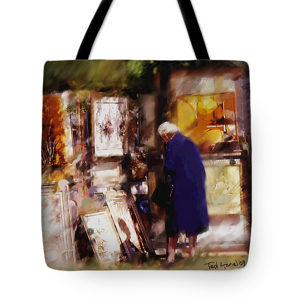 Art Show Paintings Tote Bag featuring the painting The Art Show by Ted Azriel