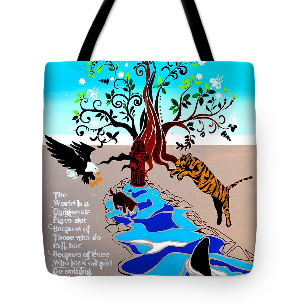 Puppy Tote Bag featuring the digital art The Attack by Alfie Borg