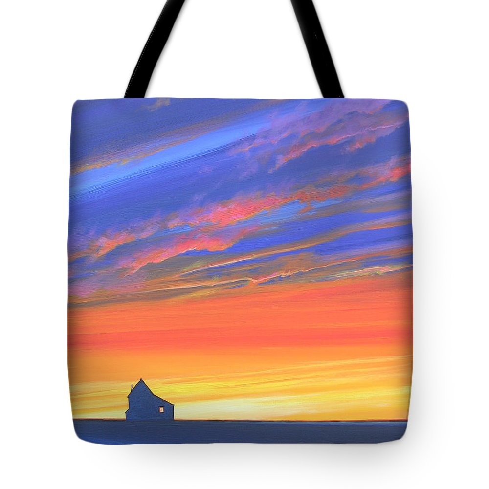 Sunset Tote Bag featuring the painting The Aunt's House by Hunter Jay