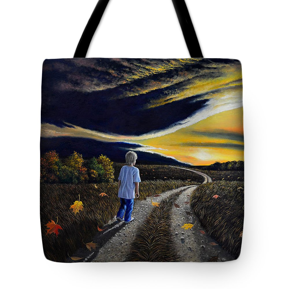 Autumn Tote Bag featuring the painting The Autumn Breeze by Christopher Shellhammer