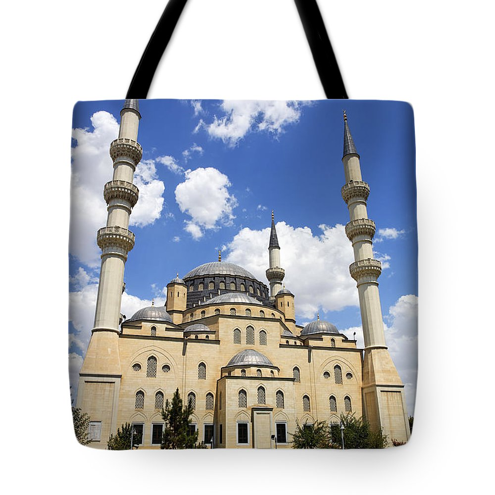 Turkmenistan Tote Bag featuring the photograph The Azadi Mosque At Ashgabat In Turkmenistan by Robert Preston