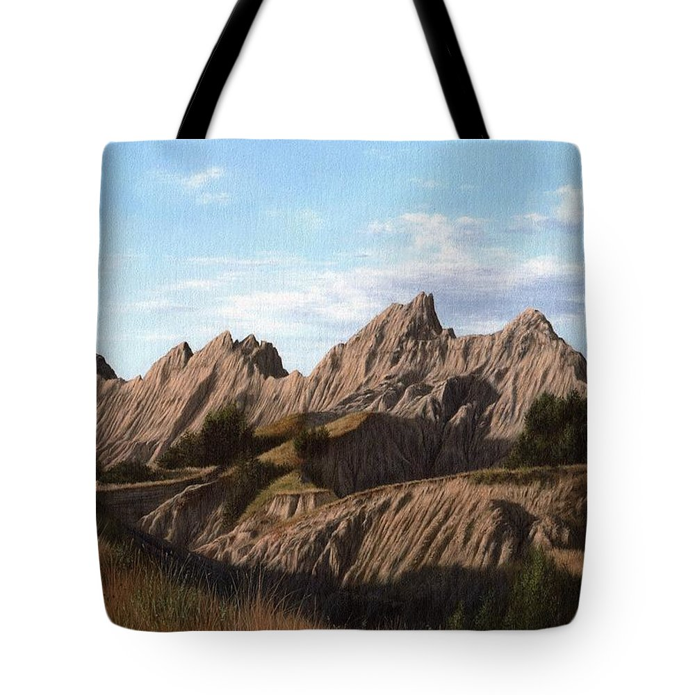 Badlands Tote Bag featuring the painting The Badlands In South Dakota Oil Painting by Rachel Stribbling
