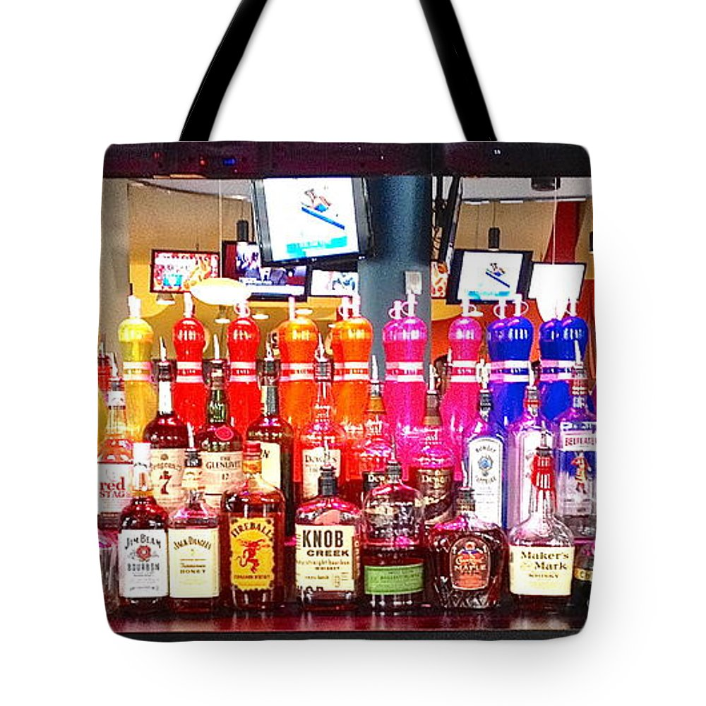 Colorful Tote Bag featuring the photograph The Bar by Beth Saffer