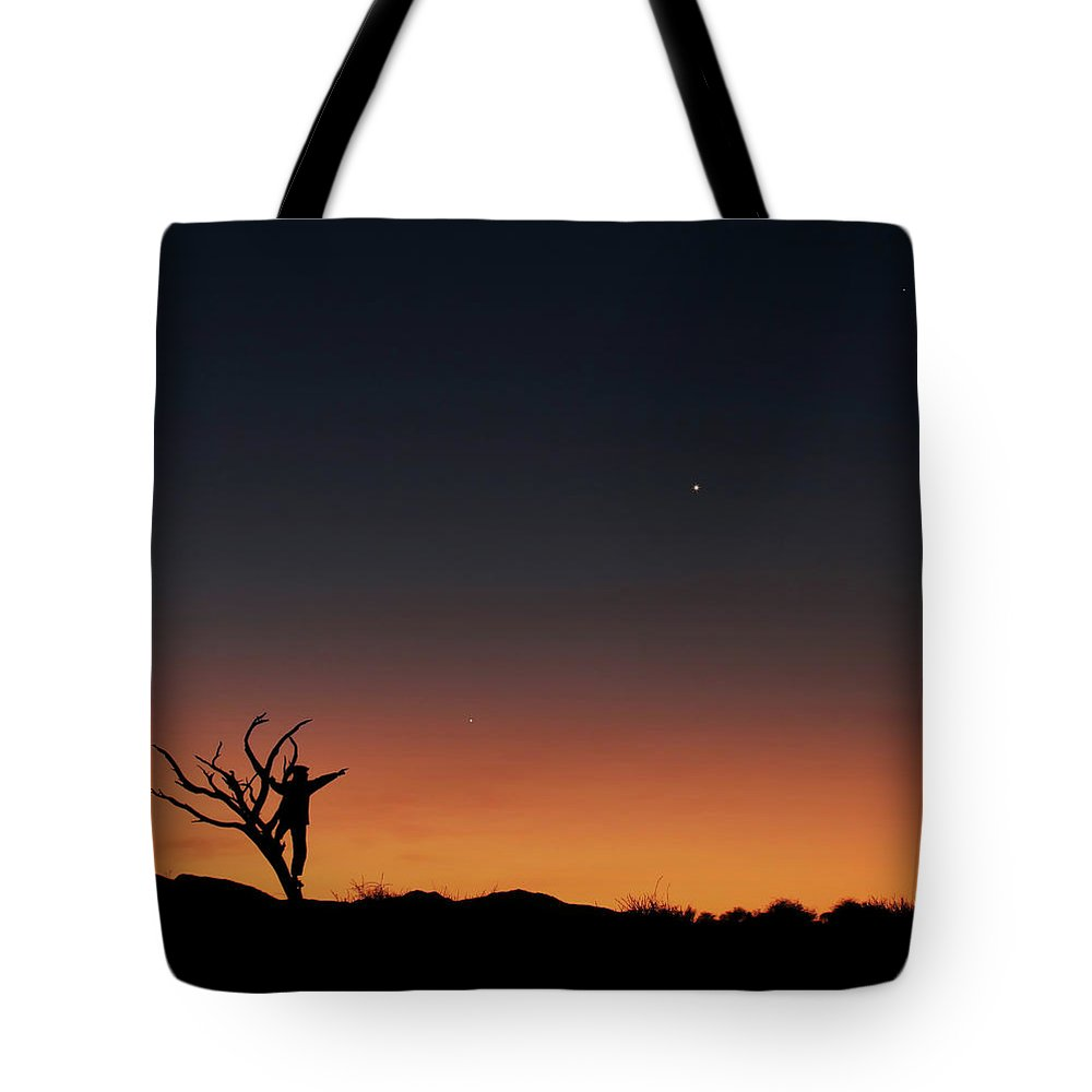 Horizontal Tote Bag featuring the photograph The Bare Tree And Human Figure Point by Lorand Fenyes