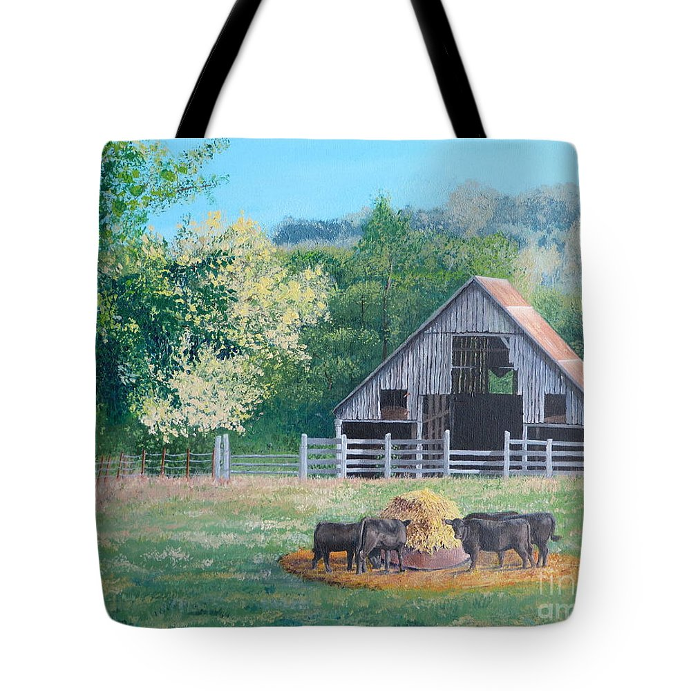 Pastoral Scene. The Barn Tote Bag featuring the painting The Barn by Alicia Fowler