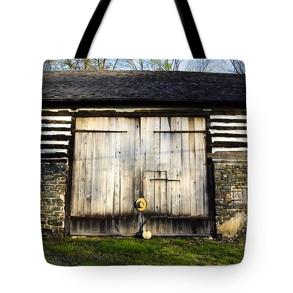 The Tote Bag featuring the photograph The Barn And The Banjo Mandolin by Bill Cannon