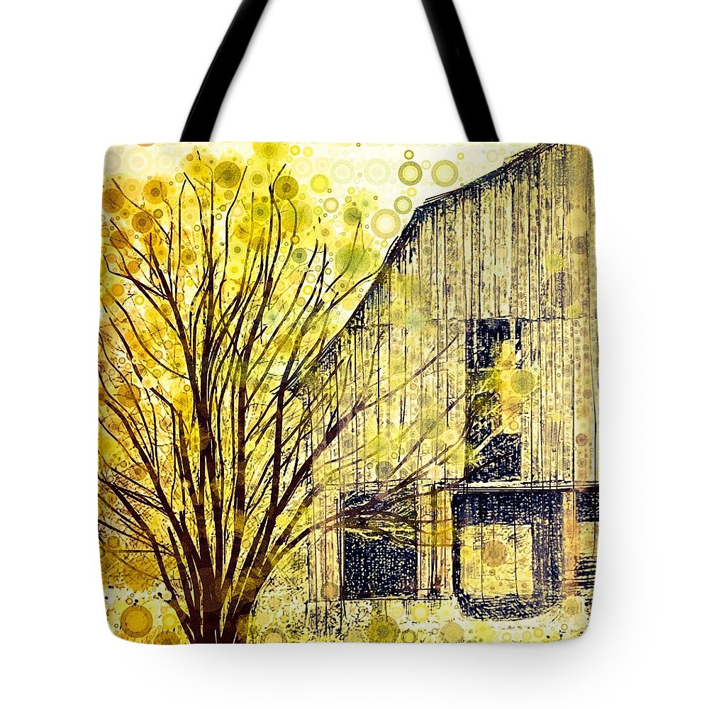 Old Barn In The Pasture Tote Bag featuring the digital art The Barn Where... by Steven Boland