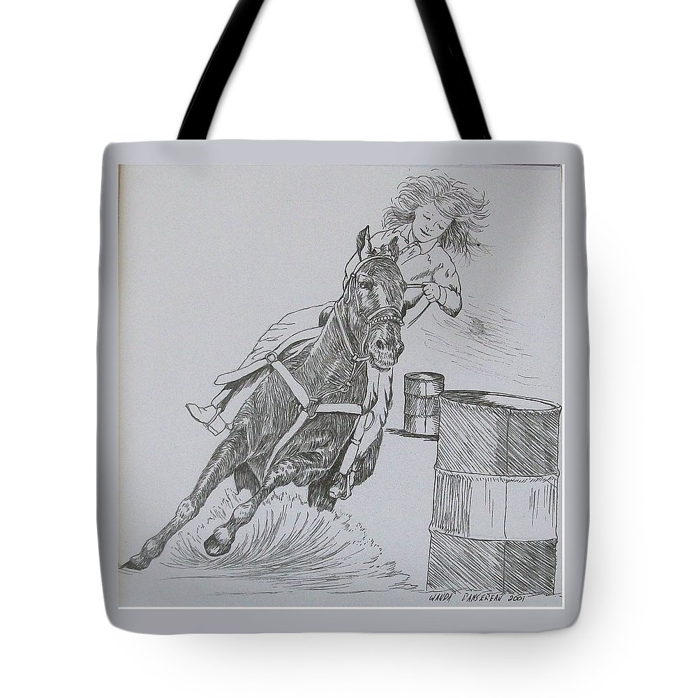 Black And Grey Black Poster Tote Bag featuring the drawing The Barrel Racer by Wanda Dansereau