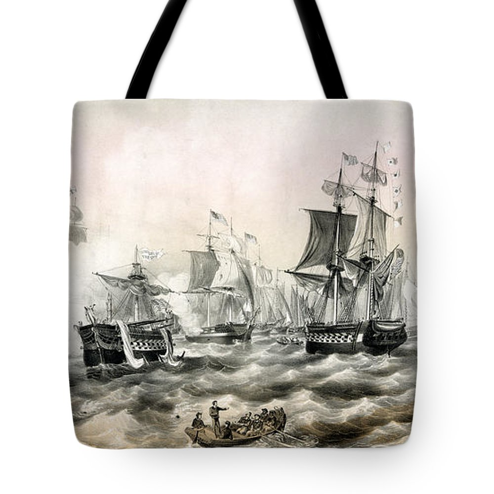 Old Tote Bag featuring the painting The Battle Of Lake Erie - 1878 by Pablo Romero