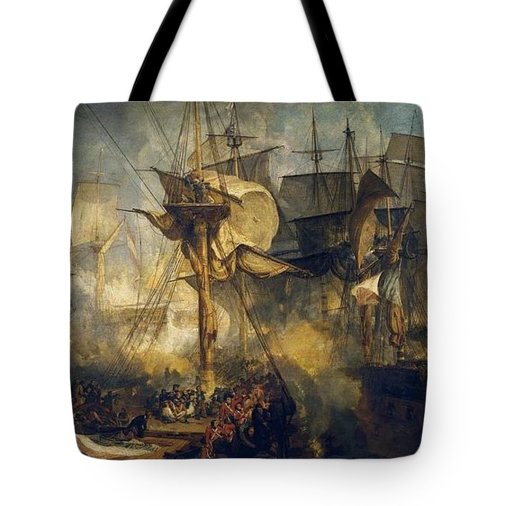 1808 Tote Bag featuring the painting The Battle Of Trafalgar by JMW Turner