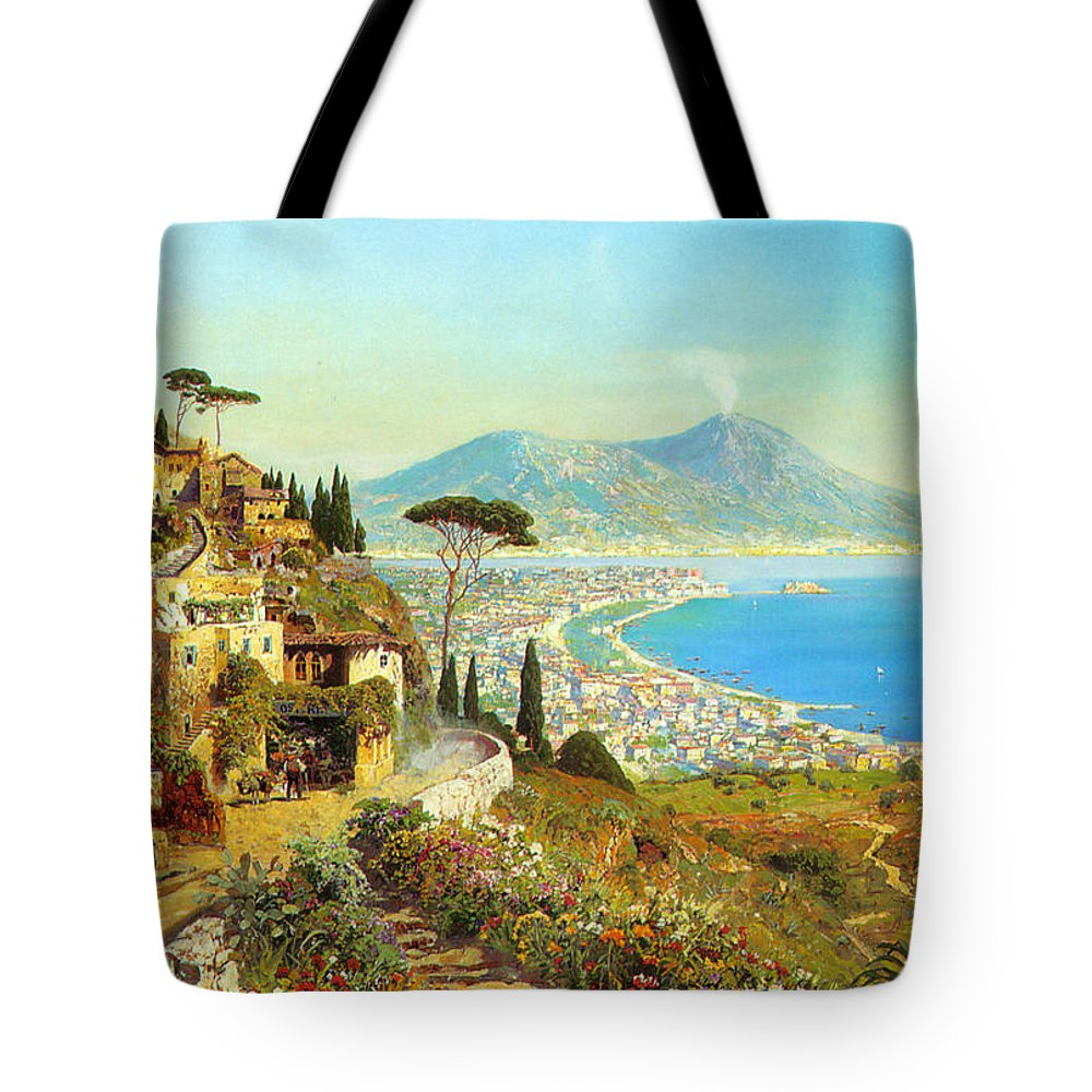 The Bay Of Naples Tote Bag featuring the digital art The Bay Of Naples by Alois Arnegger