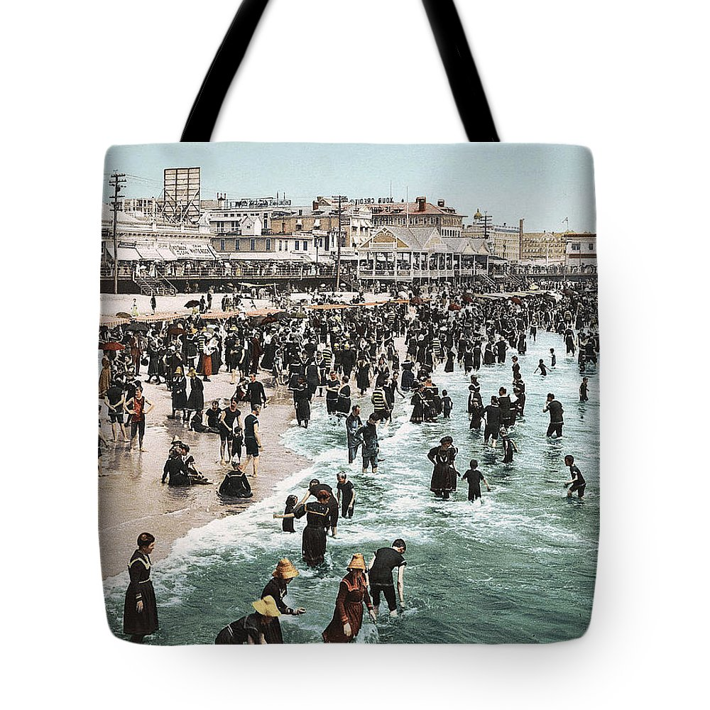 Atlantic City Boardwalk 1900 Tote Bag featuring the digital art The Beach At Atlantic City 1902 by Unknown