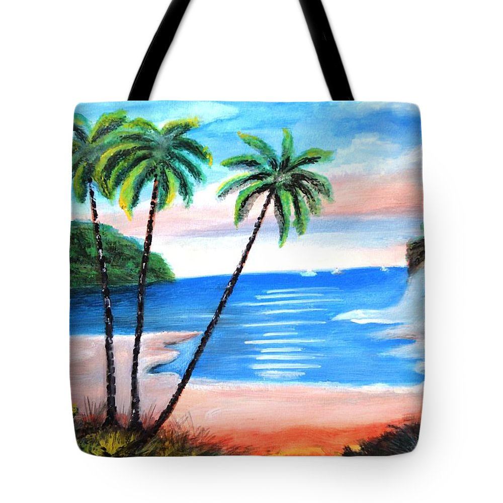 Island Tote Bag featuring the painting The Beach by Manjiri Kanvinde
