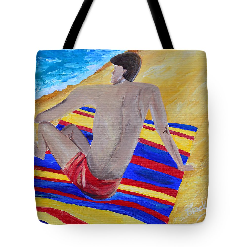 Man Tote Bag featuring the painting The Beach Towel by Donna Blackhall