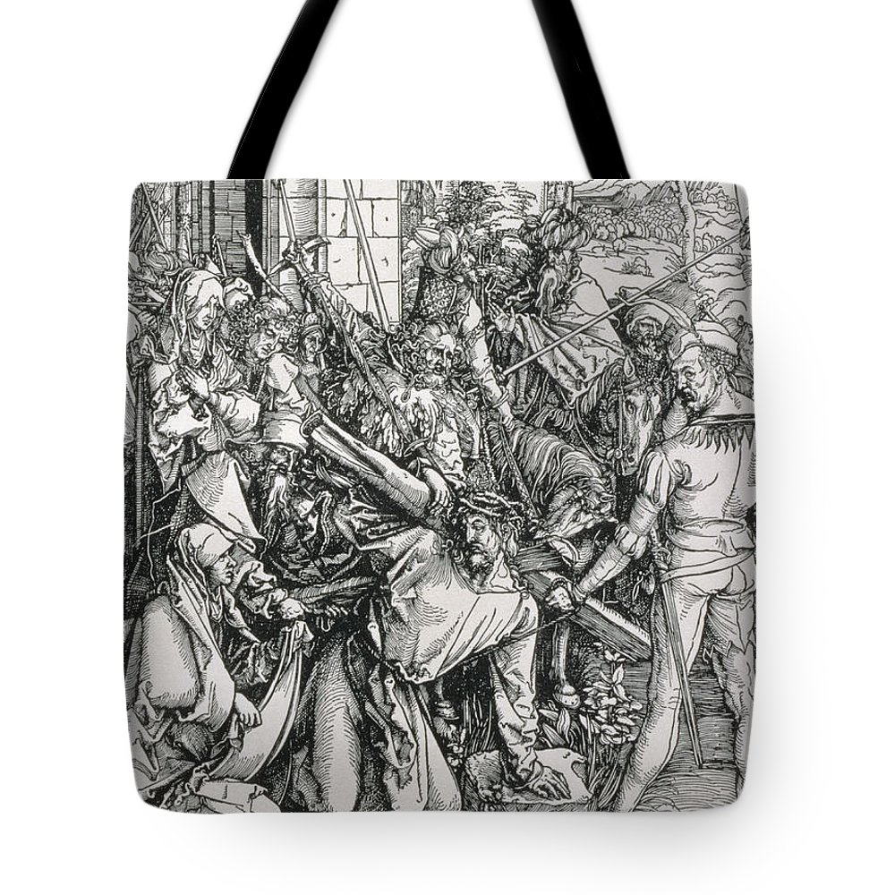 Print Tote Bag featuring the painting The Bearing Of The Cross From The 'great Passion' Series by Albrecht Duerer