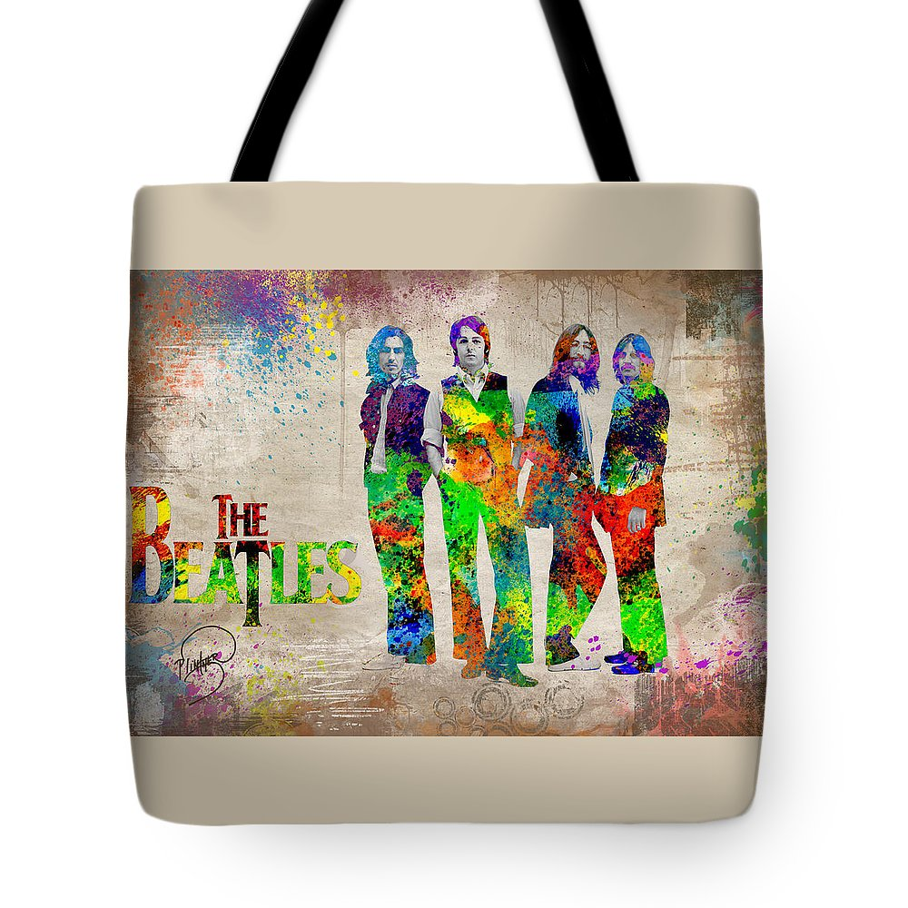 Beatles Revolution Tote Bag featuring the digital art The Beatles by Patricia Lintner