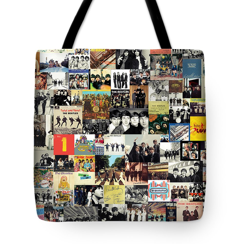The Beatles Tote Bag featuring the digital art The Beatles Collage by Zapista OU