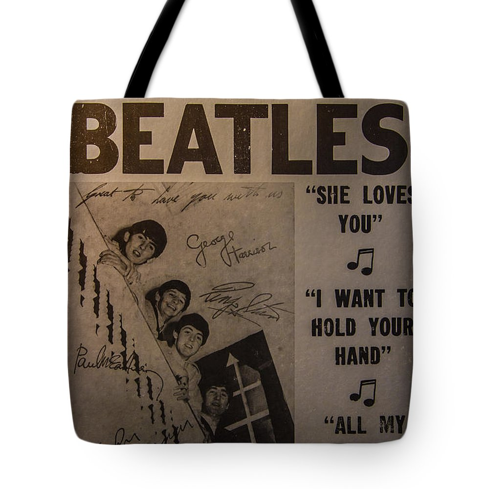 The Beatles Ed Sullivan Show Poster Tote Bag featuring the photograph The Beatles Ed Sullivan Show Poster by Mitch Shindelbower