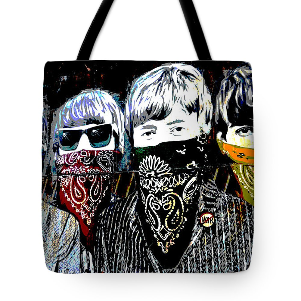 Banksy Tote Bag featuring the photograph The Beatles wearing face masks by RicardMN Photography