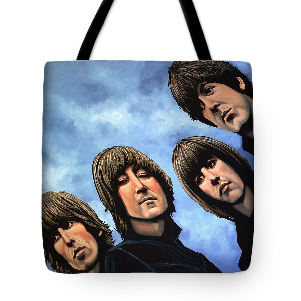 The Beatles Tote Bag featuring the painting The Beatles Rubber Soul by Paul Meijering