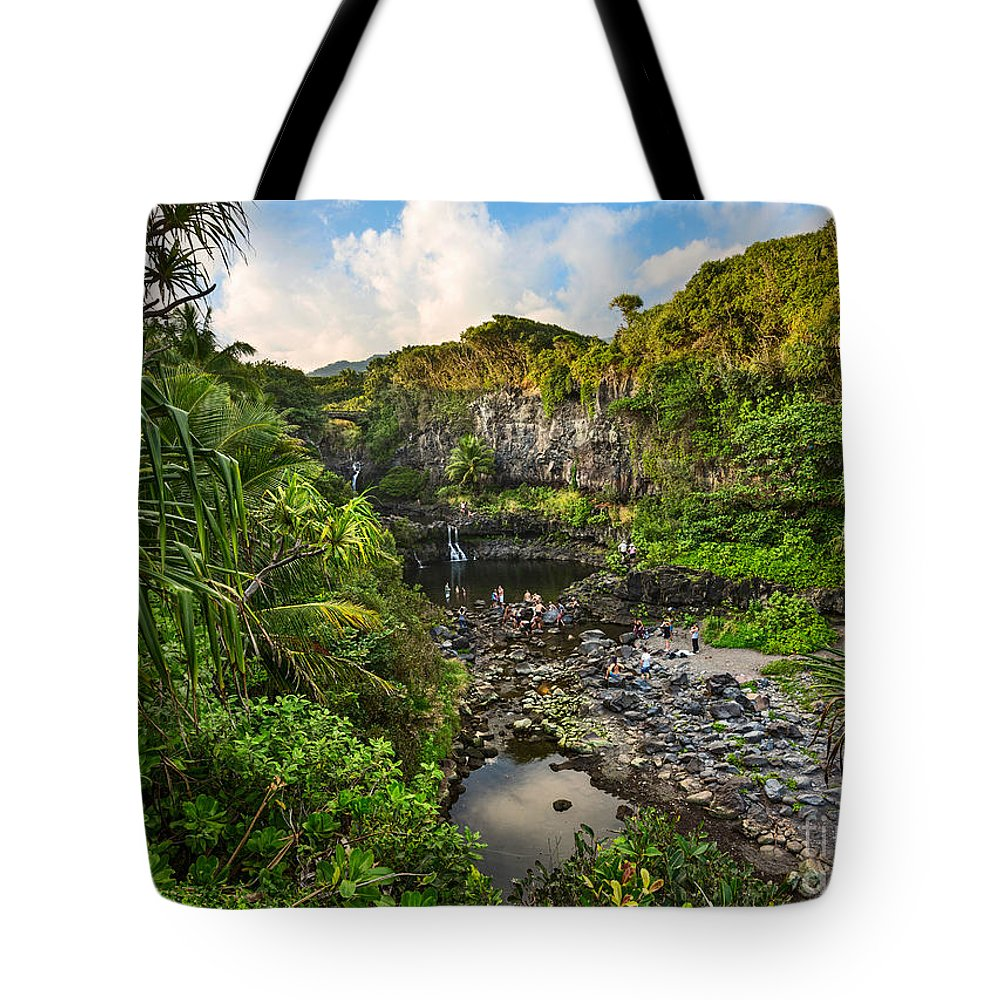 Seven Sacred Pools Tote Bag featuring the photograph The Beautiful Scene Of The Seven Sacred Pools Of Maui. by Jamie Pham