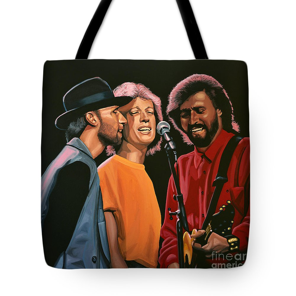The Bee Gees Tote Bag featuring the painting The Bee Gees by Paul Meijering
