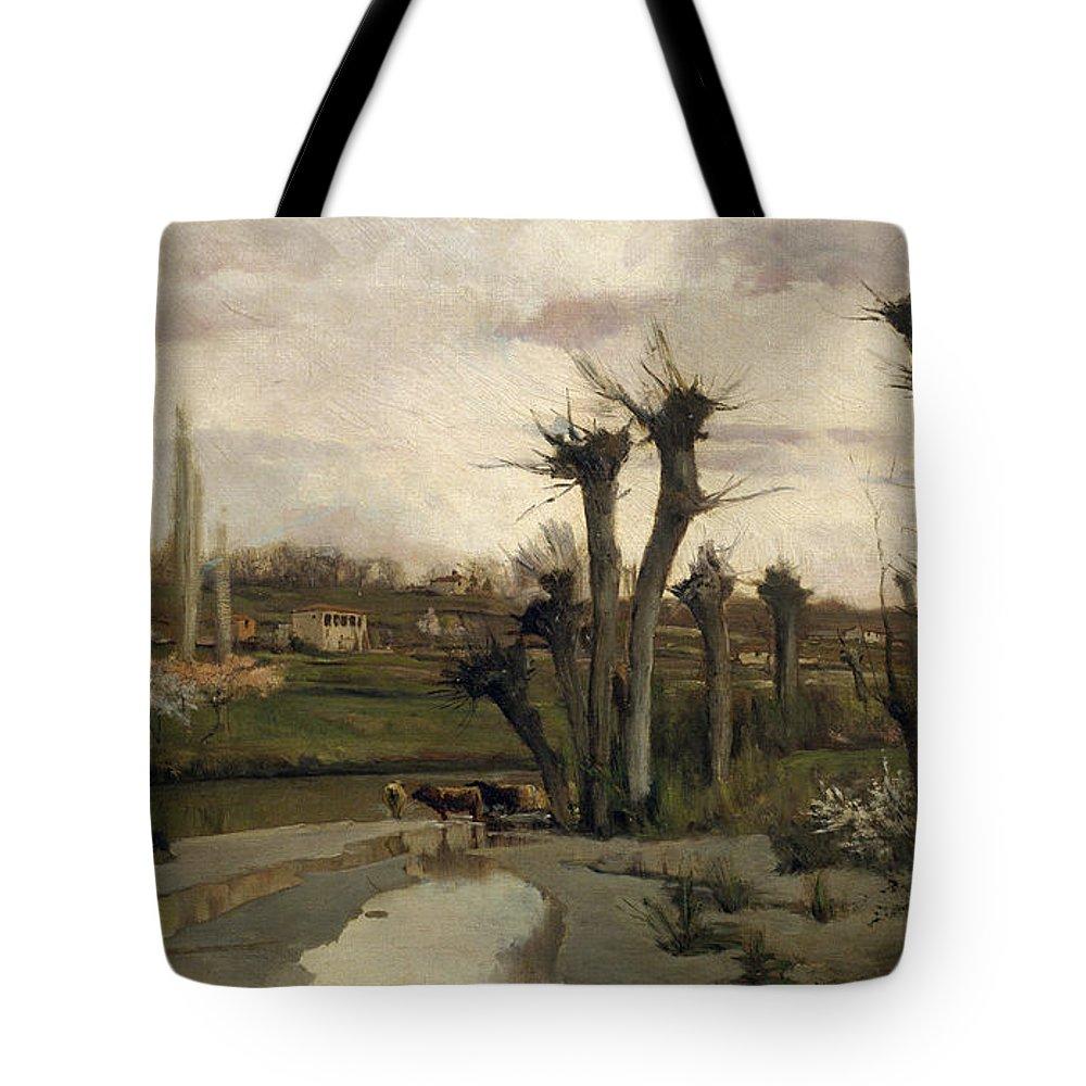 Joaquim Vayreda I Vila The Beginning Of Spring Tote Bag featuring the painting The Beginning Of Spring by Joaquim Vayreda i Vila