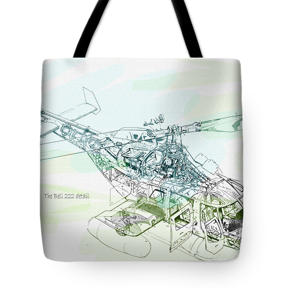 Decorative Tote Bag featuring the digital art The Bell 222 Detail by Don Kuing
