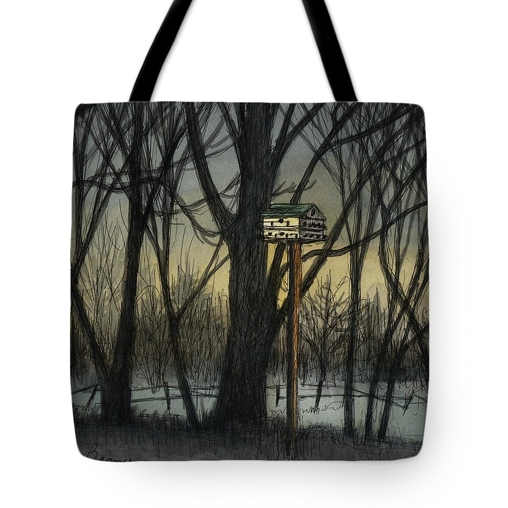 Landscape Tote Bag featuring the painting The Bird House by Arthur Barnes