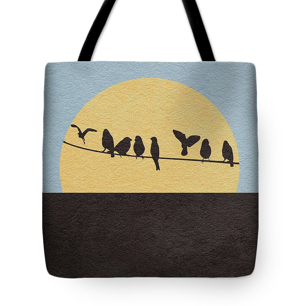 The Birds Tote Bag featuring the digital art The Birds by Inspirowl Design