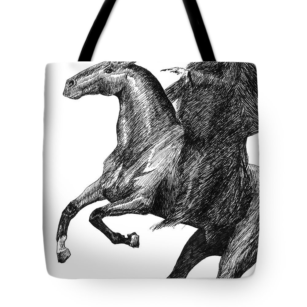 Grim Tote Bag featuring the drawing The Black Rider by J M Lister