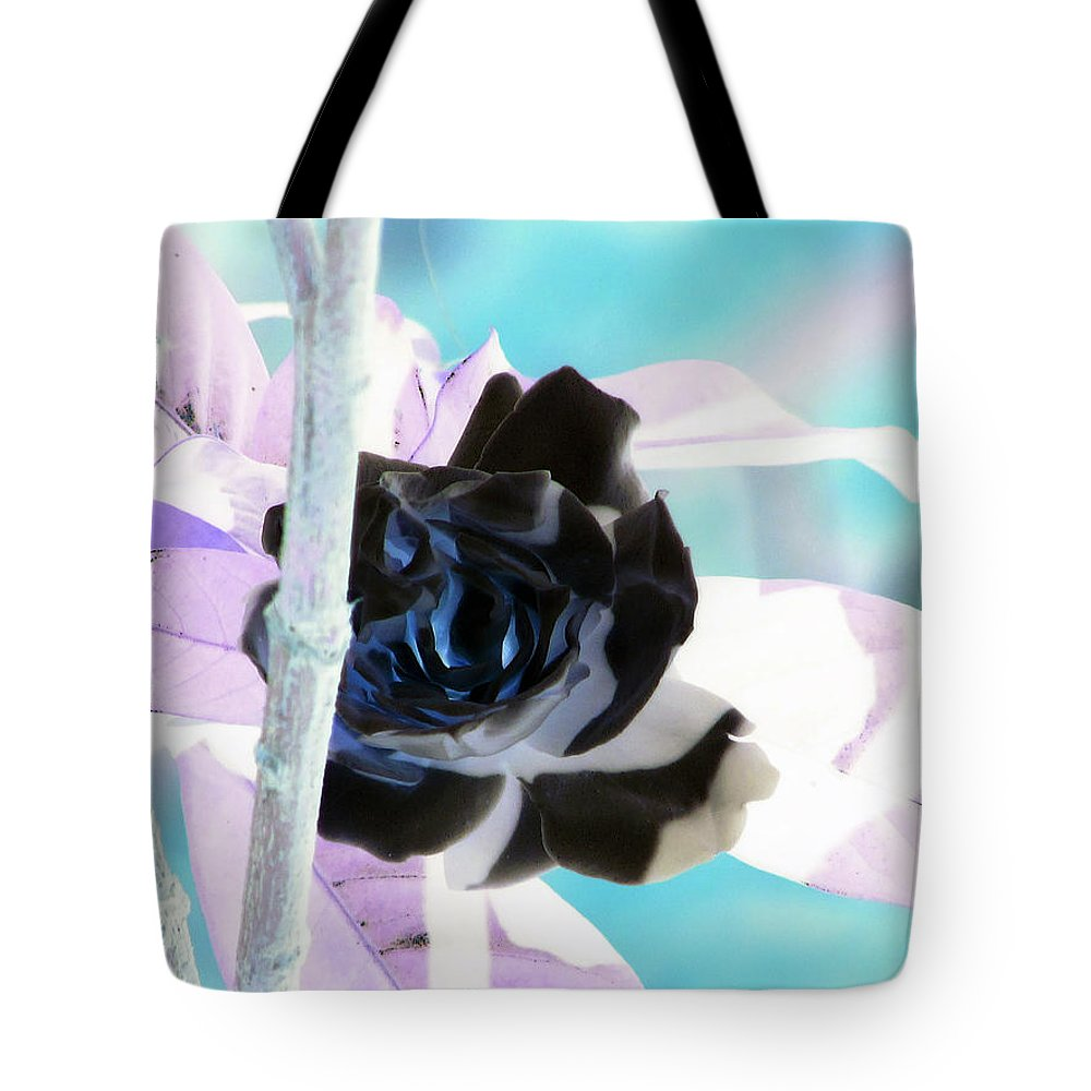 Black Tote Bag featuring the photograph The Black Rose by Debi Singer