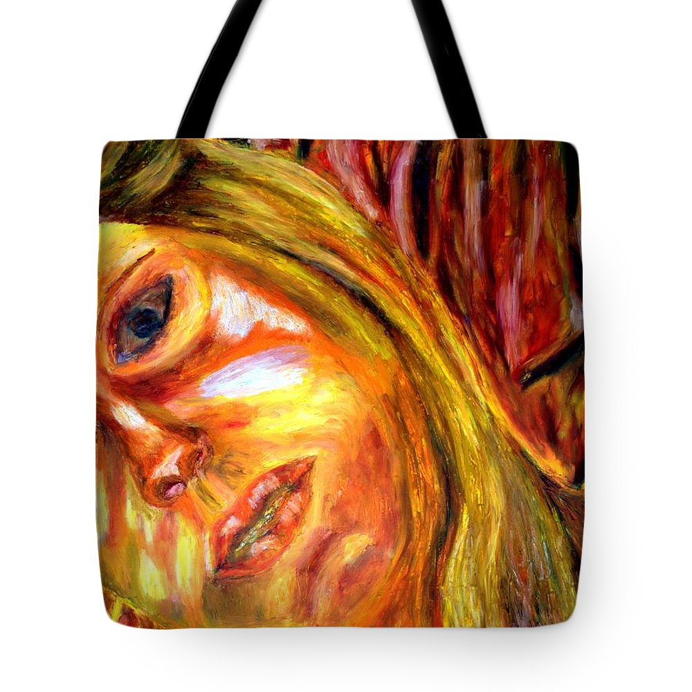 Oil Stick On Paper Tote Bag featuring the painting The Blonde 3 by Rachid Hatni