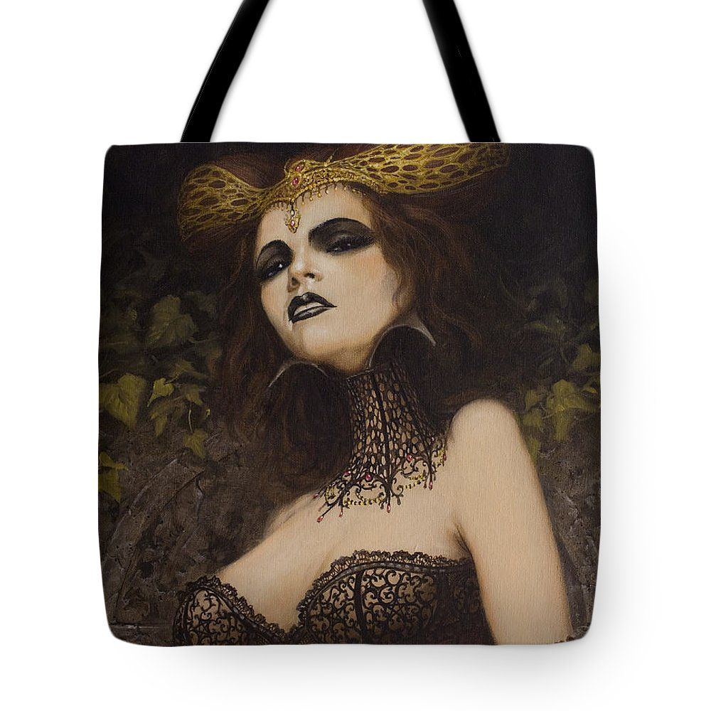 Erotic Art Nude Fantasy Undead Vampire Dracula Blood Bondage Sex Naked Woman Female Girl Sensual Sexy Legs Breasts Ass Bottom Lingerie Corset Bra Knickers Pants Stockings Shirt Oil Painting Prints Figurative Countess Bathory Gothic Horror Tote Bag featuring the painting The Blood Countess by John Silver