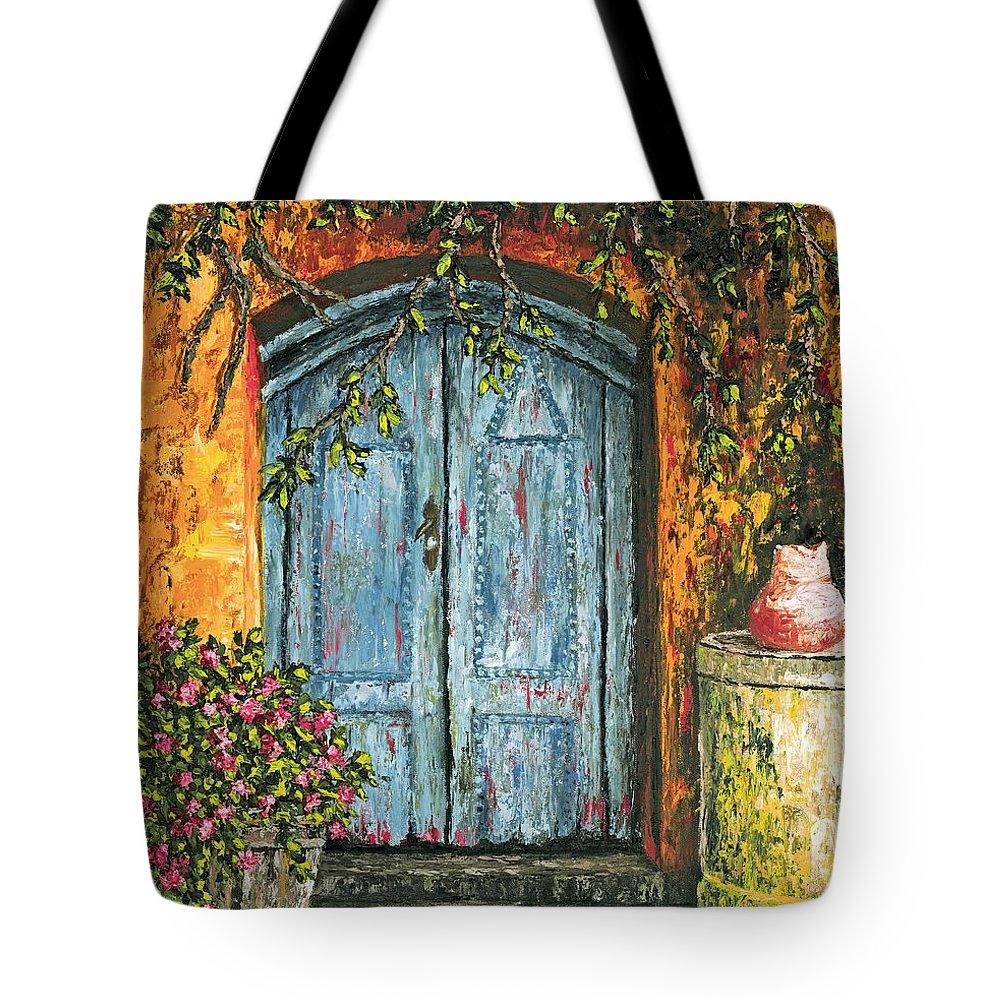 Door Tote Bag featuring the painting The Blue Door by Darice Machel McGuire