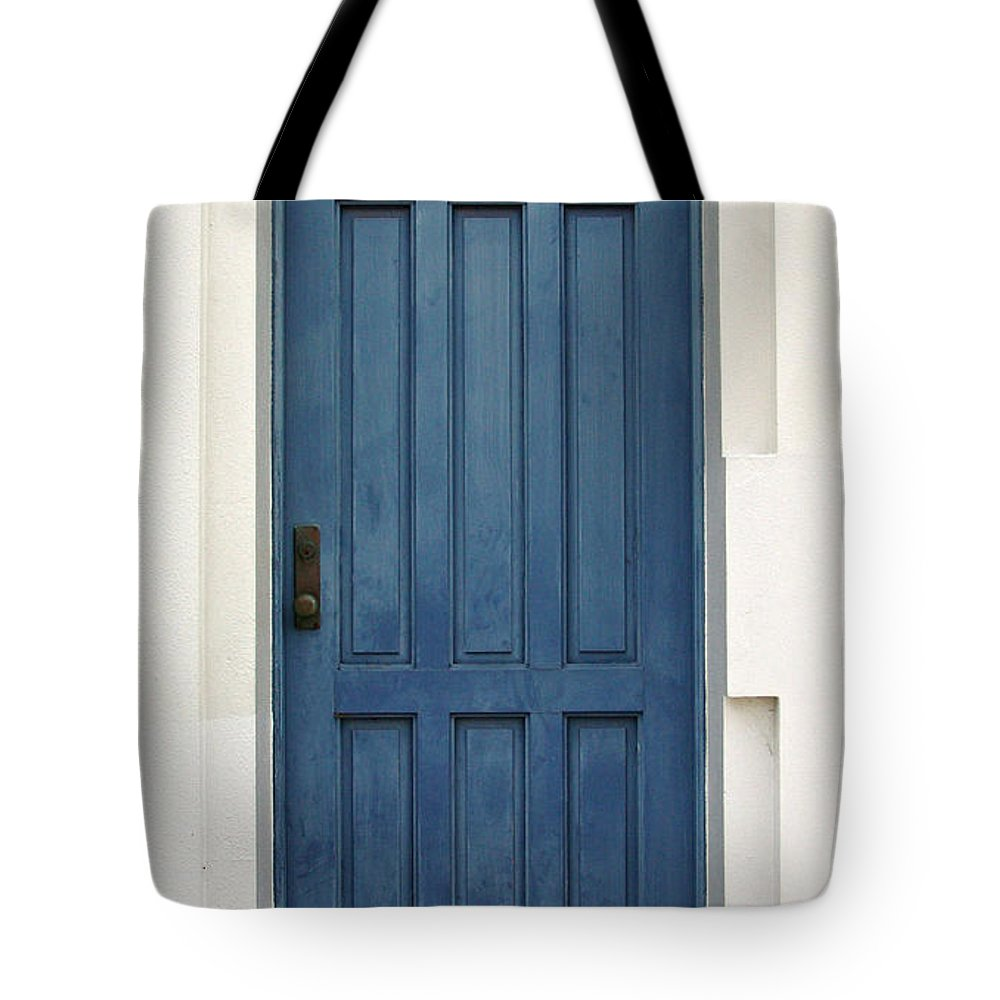 Doors Tote Bag featuring the photograph The Blue Door by Michael Moore