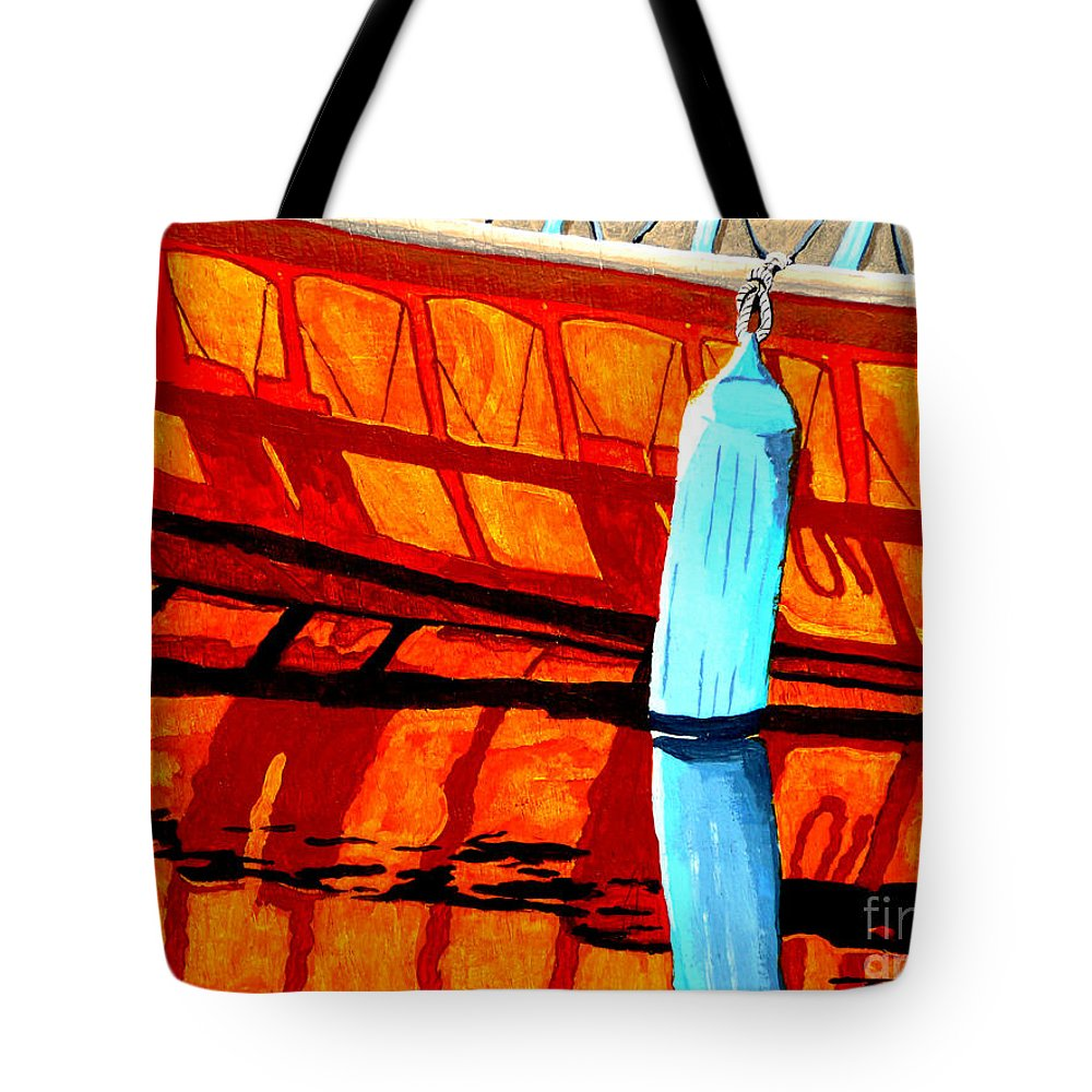 Canoe Tote Bag featuring the painting The Blue Fender by Anthony Dunphy