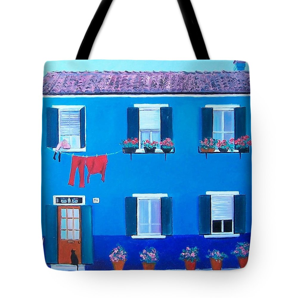Blue House Tote Bag featuring the painting The Blue House Burano by Jan Matson