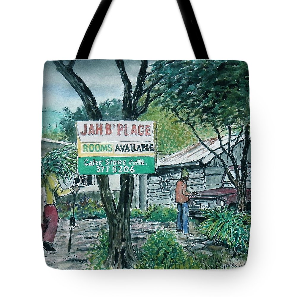 Jamaica Blue Mountains Tote Bag featuring the painting The Blue Mountains Of Jamaica by Frank Hunter