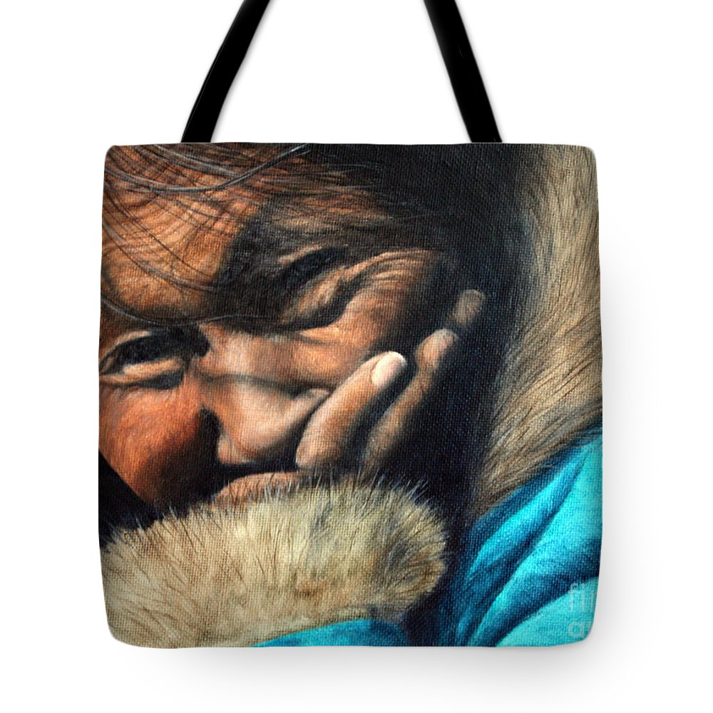 Inuit Tote Bag featuring the painting The Blue Parka by Joey Nash