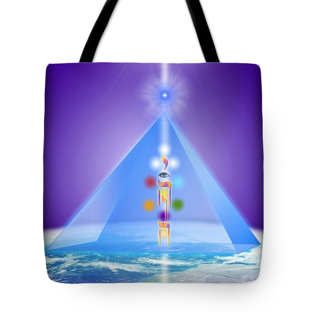 Deirdre Hade Tote Bag featuring the digital art The Blue Pyramid Of Protection by Endre Balogh
