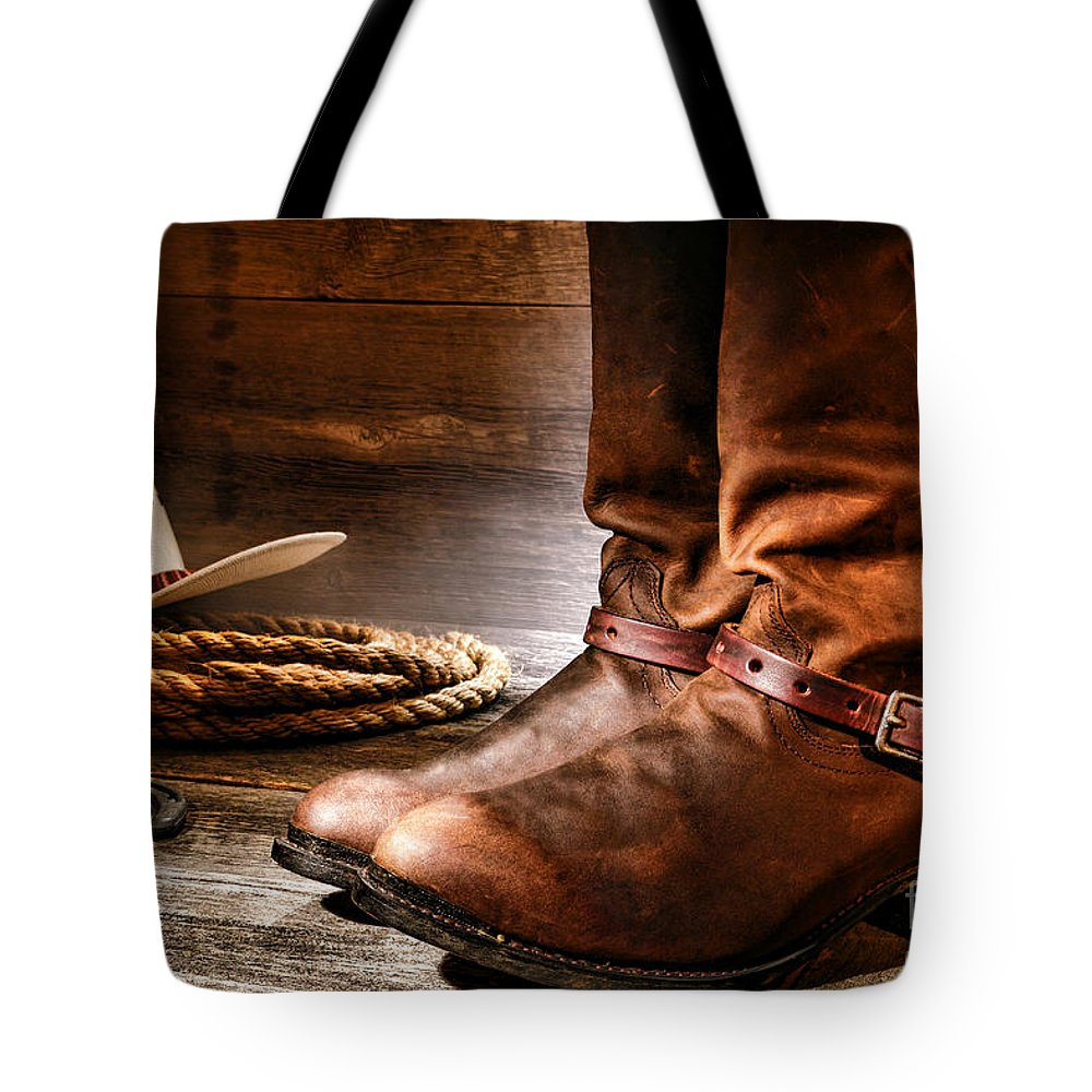 Western Tote Bag featuring the photograph The Boots by Olivier Le Queinec
