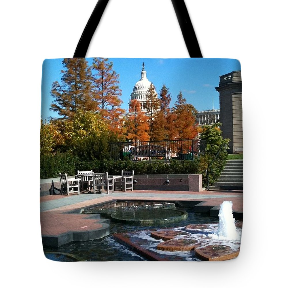 Capitol Tote Bag featuring the photograph The Botanic Garden Fountain by Lois Ivancin Tavaf