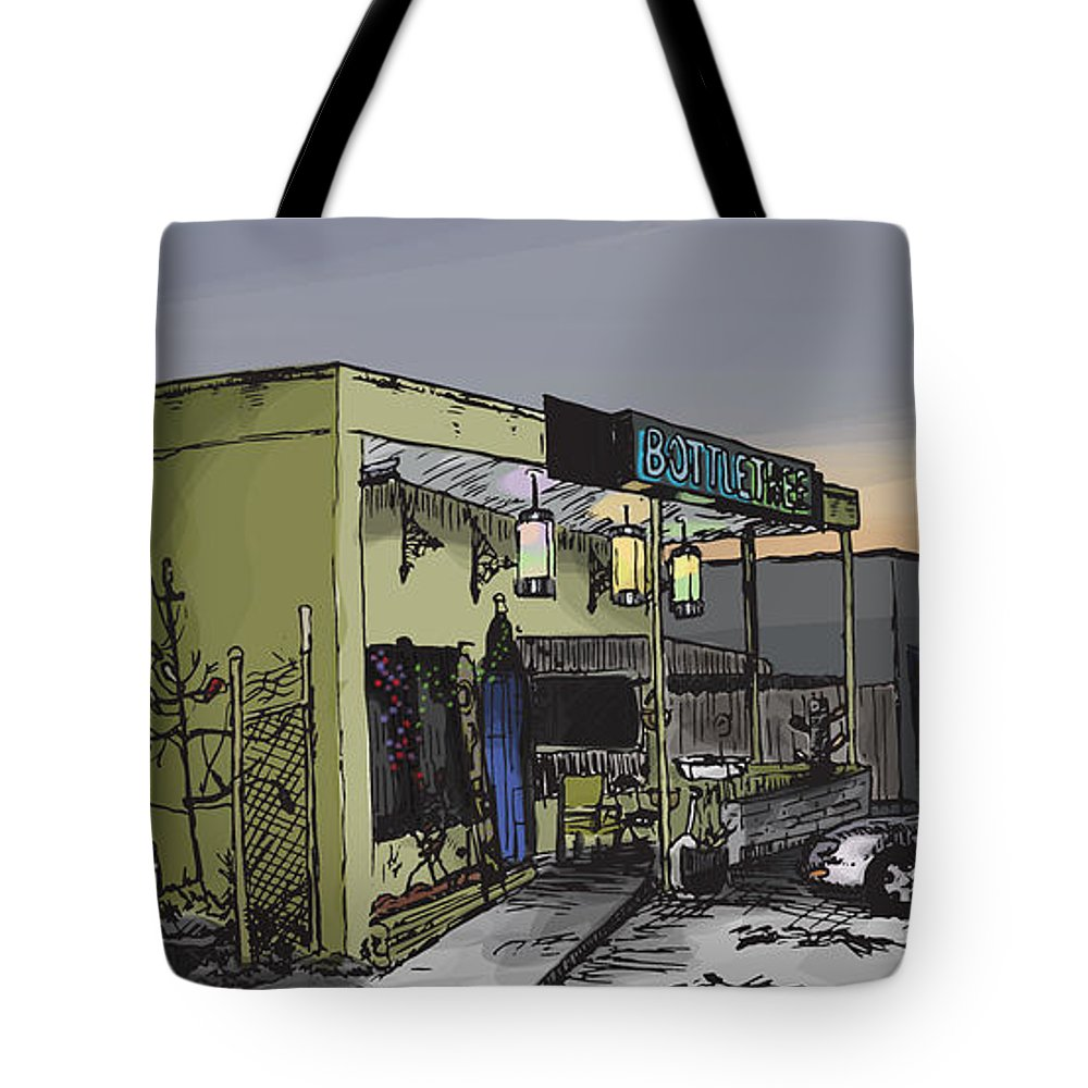 Bottletree Tote Bag featuring the drawing The Bottletree Cafe by Greg Smith