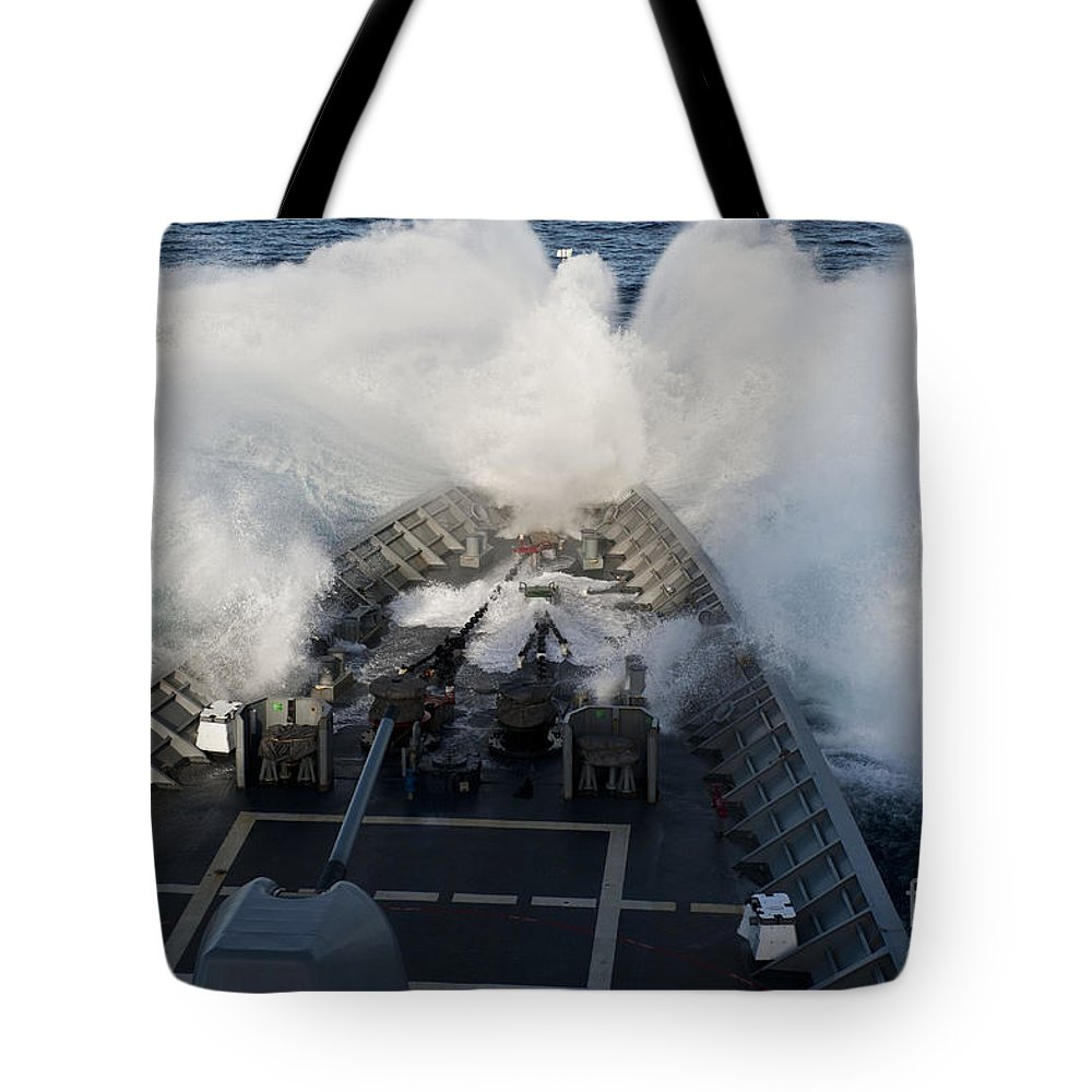 Cruiser Tote Bag featuring the photograph The Bow Of Uss Cowpens Plows by Stocktrek Images