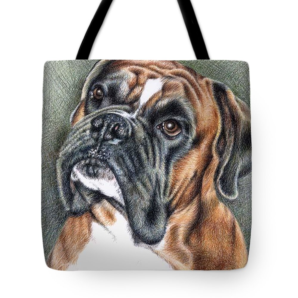 Dog Tote Bag featuring the drawing The Boxer by Nicole Zeug