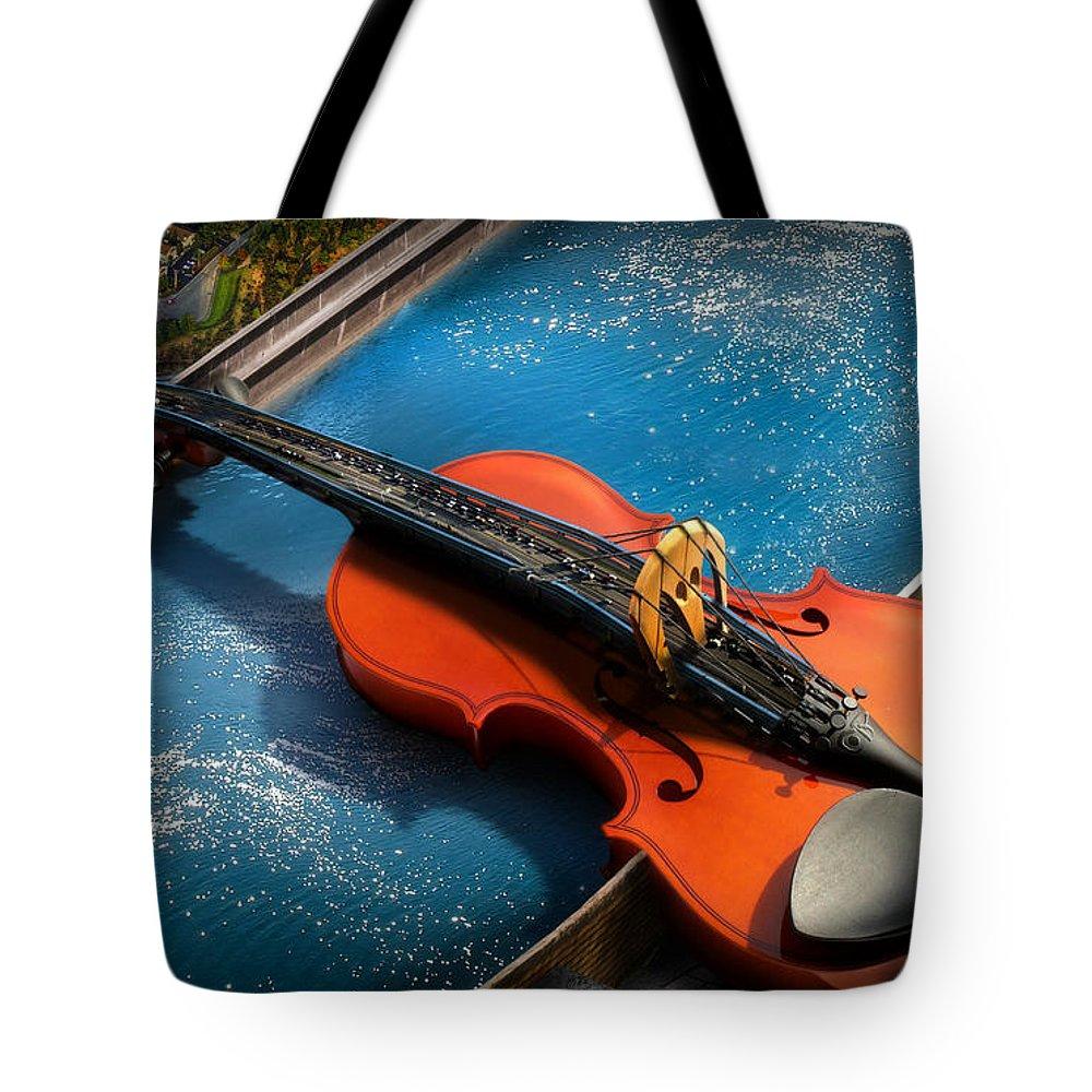 Violin Tote Bag featuring the digital art The Bridge by Alessandro Della Pietra